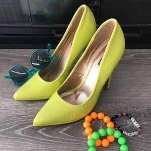 Electric green heels